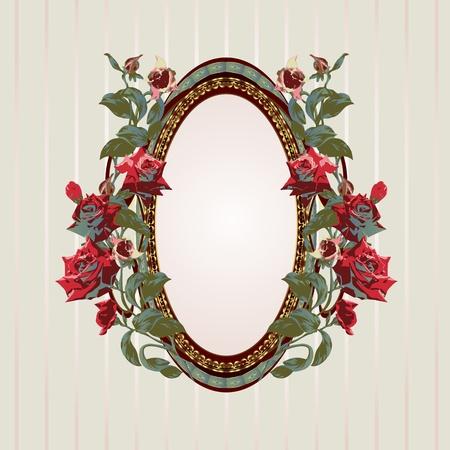 mirror frame: Vintage floral frame with roses vector illustration