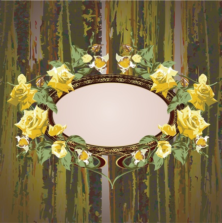 erosion: Vintage floral frame with roses vector illustration