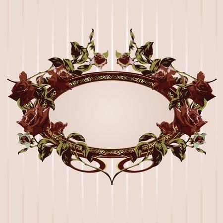Vintage floral frame with roses vector illustration Vektorové ilustrace