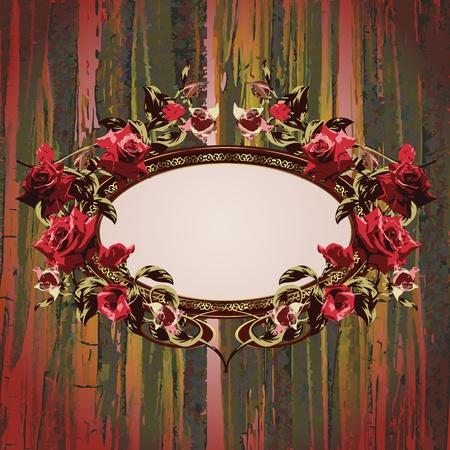 Vintage floral frame with roses vector illustration