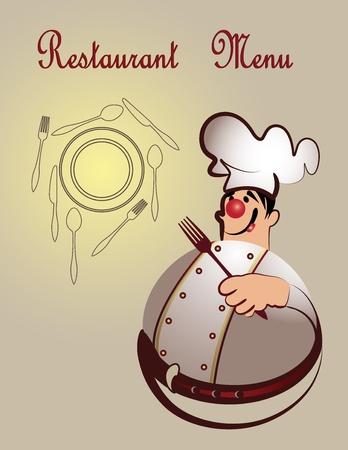 dessert fork: Chef restaurant menu design  Illustration