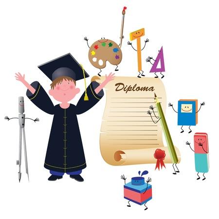 college graduation: Graduate boy vector illustration