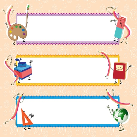 classroom supplies: Back to school vector banners, educational theme