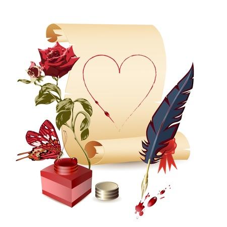 ink pot: Papiro, rosa, tintero y una pluma sobre fondo brillante Vectores