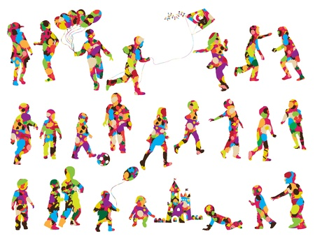 school sports: Children silhouettes made of colorful spots, isolated over white background