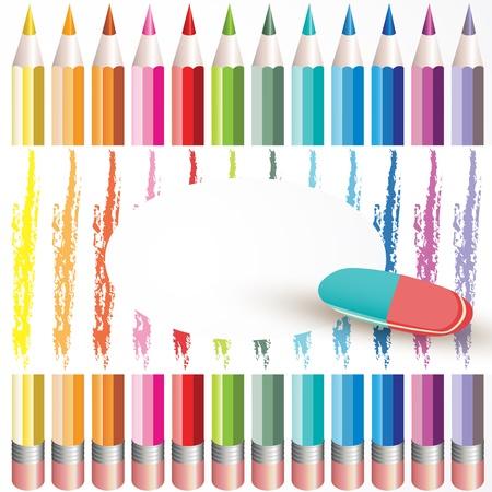 Achtergrond met kleurpotloden en gum