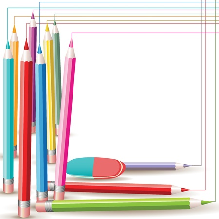 Background with colored pencils and eraser Stock Vector - 10984871