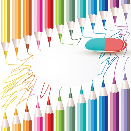 Background with colored pencils and eraser Vector