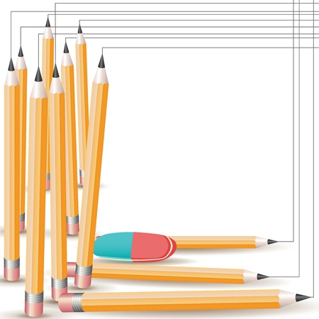 Background with pencils and eraser  Vector