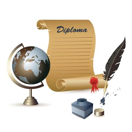 ink pot: Diploma, globo, un tintero y una pluma Vectores