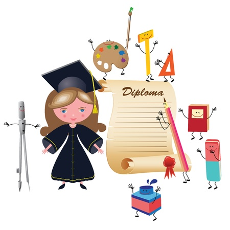 robe: Graduate girl vector illustration