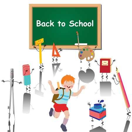 Back to school. Illustration of a little boy cartoon character with his satchel surrounded with school supplies on white background.  Vector