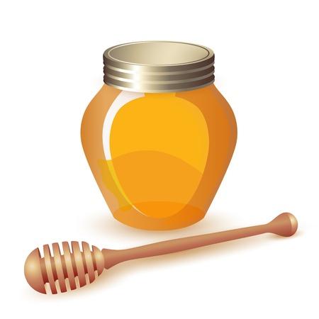 Closed honey jar and wooden dipper isolated on white  Illustration