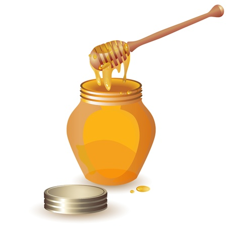 honey liquid: Jar of honey with wooden dipper isolated on white background