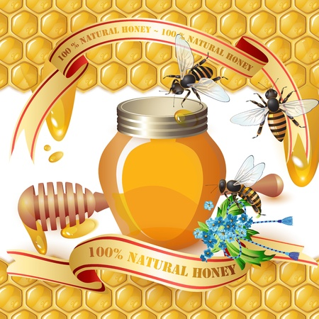 Closed honey jar, wooden dipper, bees, and ribbons over background with honeycombs and drops