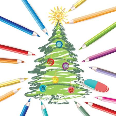 ni�os con l�pices: �rbol de Navidad con l�pices de colores y goma de borrar