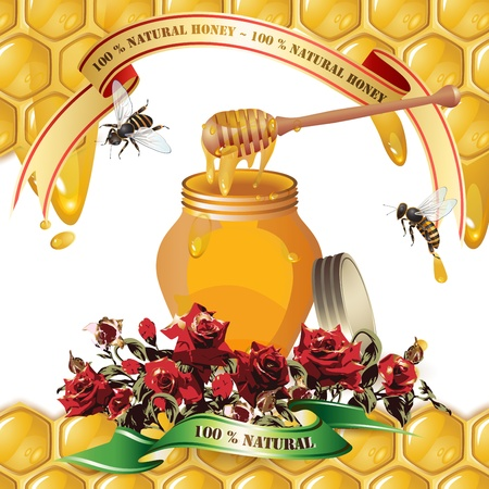 dipper: Jar of honey with wooden dipper, bees, ribbons and roses over background with honeycombs and drops