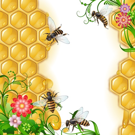 beehive: Background with bees, flowers and honeycomb