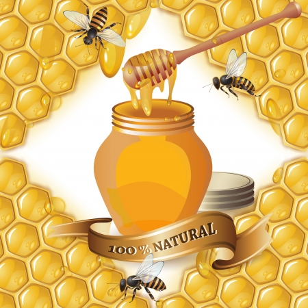 sweetener: Jar of honey with wooden dipper, bees and ribbon over background with honeycombs and drops