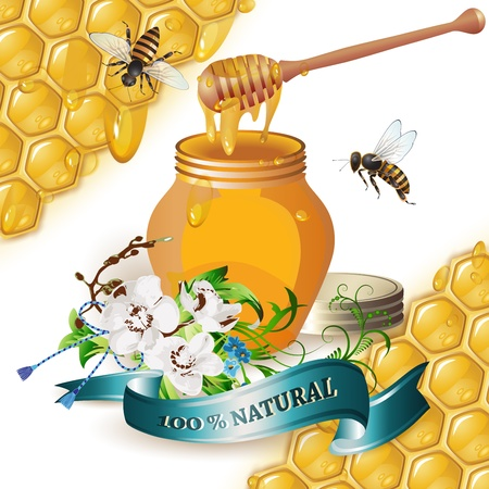 Jar of honey with wooden dipper, bees, ribbon and orchids over background with honeycombs and drops