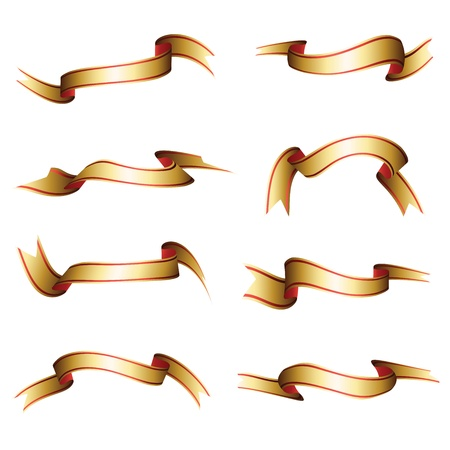 Set of a eight ribbons of different forms  Vector