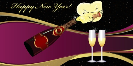 New Years Eve greeting card. Two Champagne Glasses.  Vector