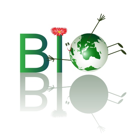 cartoon world: Illustration of bio text with funny planet