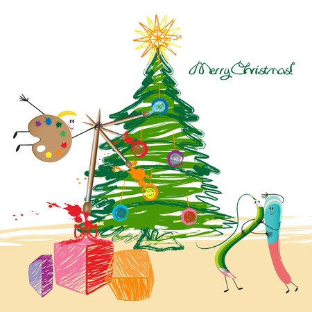 Christmas tree, green pencil, eraser and palette  Vector