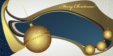 Deep Christmas greeting with globes and golden decoration  Vector