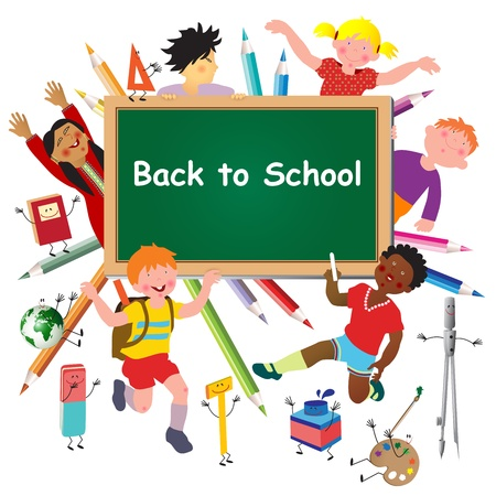 text tool: Back to school. Green desk with school supplies and kids.