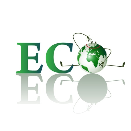 Illustration of eco text with funny planet isolated on a white background  Vector