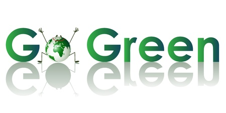 Go Green Concept.Go green written in green letters with an funny earth  Illustration