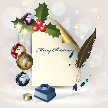 ink pot: Hoja de papel, globos de Navidad, un tintero y una pluma