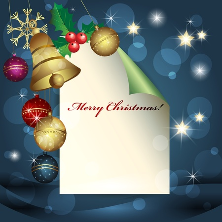 Sheet of paper, Christmas balls and bell over blue background  Vector