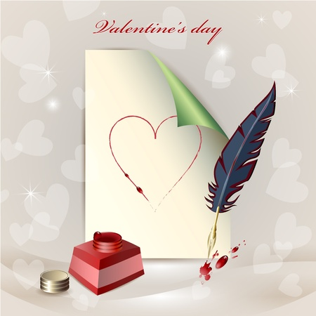 fondness: Sheet of paper, ink pot and a feather over bright background