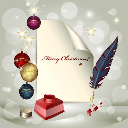ink pot: Hoja de papel, bolas de Navidad, tintero y una pluma