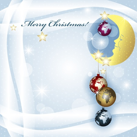Worlds Christmas baubles background  Vector