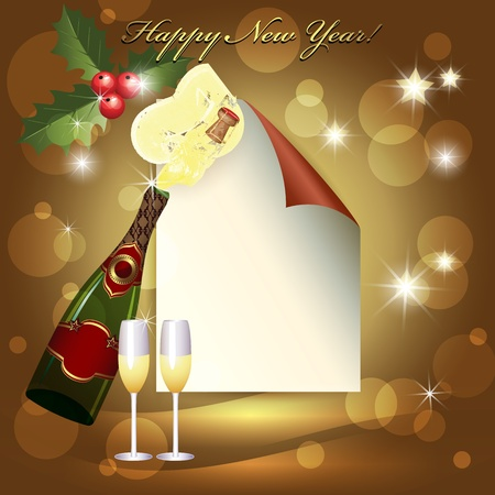 Sheet of paper, glass and two champagne glasses. Vector