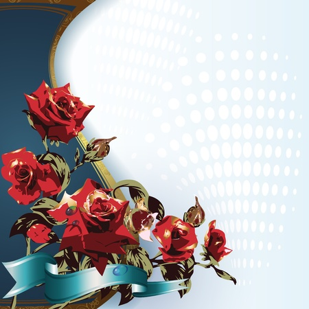 valentina: Red roses on blue background