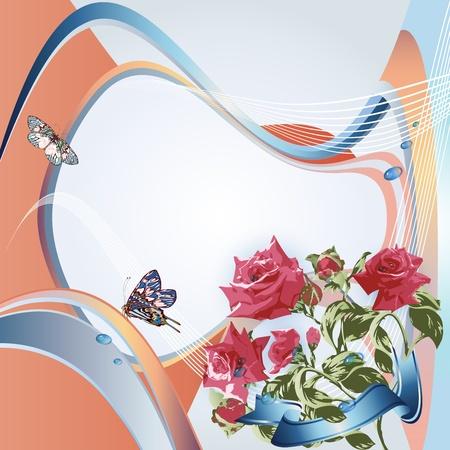Pink roses on elegant background  Vector