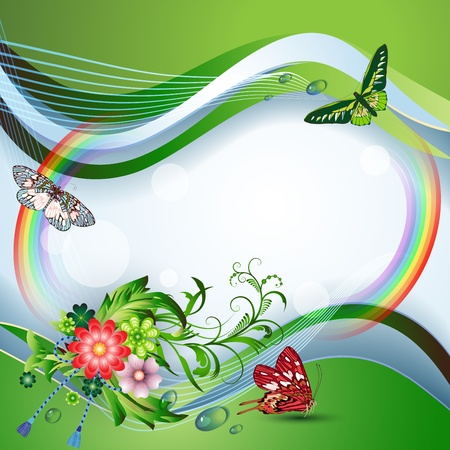 Light background with flowers, butterflies and rainbow  Vector