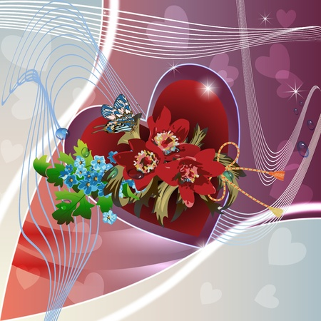 Red peonies, cornflowers and heart on elegant light background  Vector
