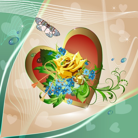 Yellow rose, cornflowers and heart on elegant light background  Vector