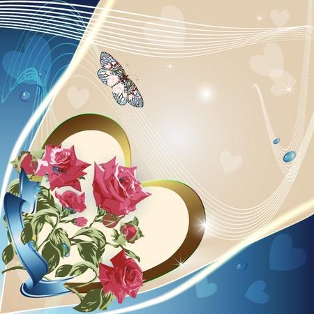 Pink roses on elegant light background Stock Vector - 11994676
