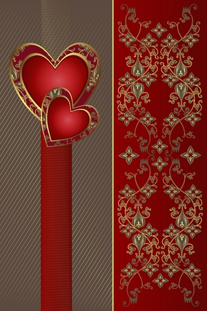 Congratulation card with red hearts  Stock Vector - 12922014