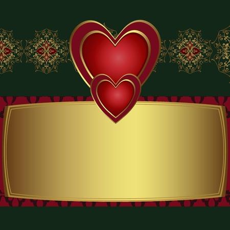 letras doradas: Enhorabuena tarjeta con corazones rojos
