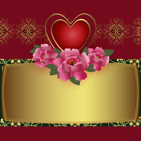 gold letters: Congratulation card with red heart and roses