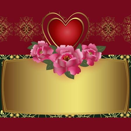 letras doradas: Enhorabuena tarjeta con corazón rojo y rosas