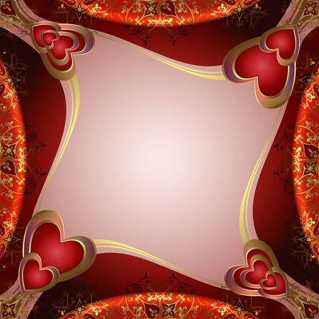 romance image: Valentines background with hearts and gold decorations