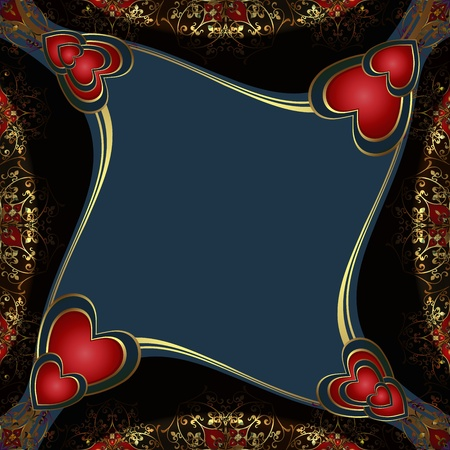 Background with gold decorations and red hearts  Vector
